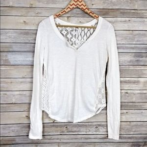 Free People Long Sleeve Lace Back Top